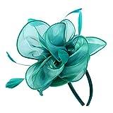 MagiDeal Frauen Blume Fascinator Hut Der 1920er Jahre Gatsby Bridal Haarspangen Haarklammern Cocktailparty - Grün