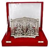 International Gift Silver Plated Laxmi Ganesh Murti With Velvet Box Packing (16 Cm, Silver)