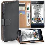 moex Sony Xperia Z3 Compact | Hülle Dunkel-Grau mit Karten-Fach 360° Book Klapp-Hülle Handytasche Kunst-Leder Handyhülle für Sony Xperia Z3 Compact / Z3 Mini Case Flip Cover Schutzhülle Tasche