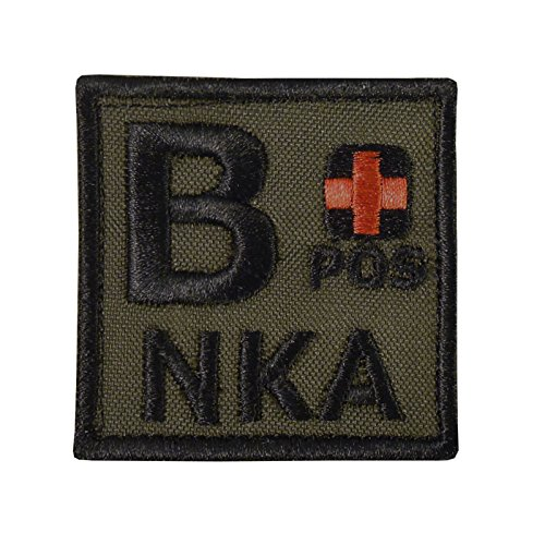 Olive Drab B POS B+ NKA Blutgruppen OD Green Embroidered Touch Fastener Aufnäher Patch (Uniform Bdu Woodland Camo)