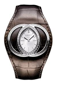 Versace Ladies Watch 84Q91SD001 S497 with Stainless Steel White Dial and Brown Leather Strap