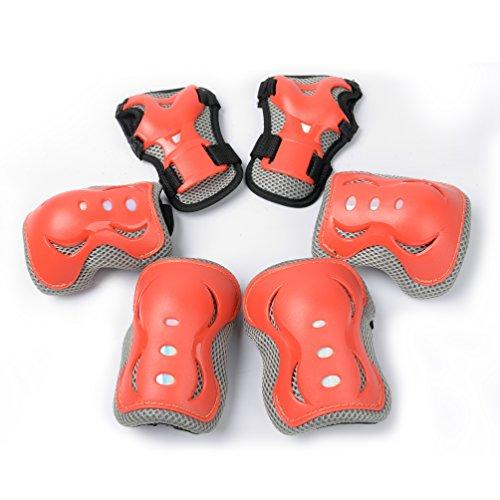 Kinder Protektoren Set, Kinder Schutzset, Kind\'s Knieschoner, Schutzausrüstung für Kinder, Knie und Ellenbogenschoner Set,2 Ellenbogenschützer + 2 Handgelenkschützer + 2 Knieschützer(Orange)