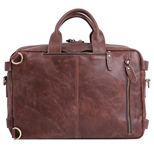 Leathario Besace en cuir véritable sac porte épaule sacoche pour PC portable sac bandoulière sac à dos sac à main pour hommes Marron