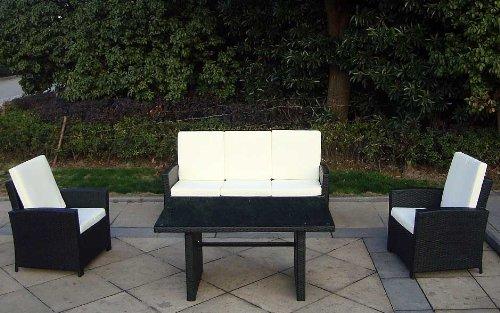 Baidani Gartenmöbel-Sets 10c00039.00001 Designer Rattan Lounge-Garnitur Comfort, 3-er-Sofa, Sessel, Auflagen, Rückenkissen, 1 Tisch mit Glasplatte, schwarz - 2