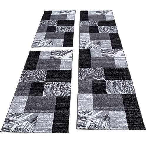 HomebyHome Moderner Design Konturschnitt Teppich 3TLG Bettumrandung Läufer Set Schlafzimmer Flur Geometrisch Patchwork Schwarz Grau Weiss meliert, Bettset:2 x 80x150 cm + 1 x 80x300 cm
