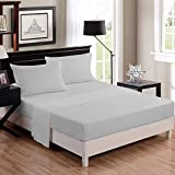 #8: Linenwalas 300 TC 100% Cotton King Size Fitted Bedsheet with 2 Pillow Covers - Solid Plain - Silver Grey - 72