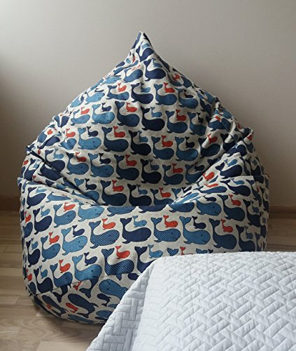 Sitzsack Leinen Bezug Blau Kinderzimmer Möbel Natürliche Stoffe Bodenkissen Handgemacht Wal Muster Sitzsäcke für Kinder Mit Innenbezug OHNE FÜLLUNG