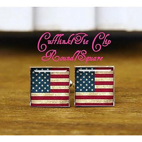 Cuadrado Gemelos, Gemelos, diseño de bandera estadounidense vintage, bandera o mapa, U S bandera gemelos, bandera de Estados Unidos, personalizado Gemelos