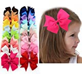 Danyoun 20 Pcs Bowknot Hairpin Headdress Grosgrain Ribbon Pinwheel Boutique Hair Bows Clips, Alligator Clip Ribbon Headbands for Baby Girls Teens Toddlers Kids Children