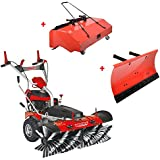 HECHT Kehrmaschine-Benzin 8101 S Kehrbesen mit Elektro-Start (inkl. Schneeschieber und Auffangbox)