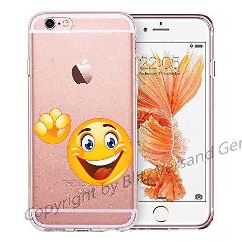 Blitz® EMOJI motifs housse de protection transparent TPE caricature bande iPhone Langue M14 iPhone 4 Bonjour Smile M10