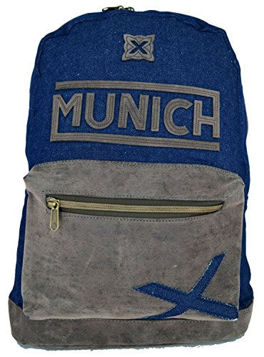 Copywritte Munich Mochila Tejano y Piel, 44 cm, Color Azul