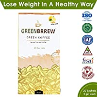 Greenbrrew Healthy Natural Lemon Instant Unroasted Coffee Beans Extract - Manages Blood Sugar Levels, Catalyst for weight Loss, Reduces Blood Pressure - each pack 60g (20 Sachets PP) - Pack of 1