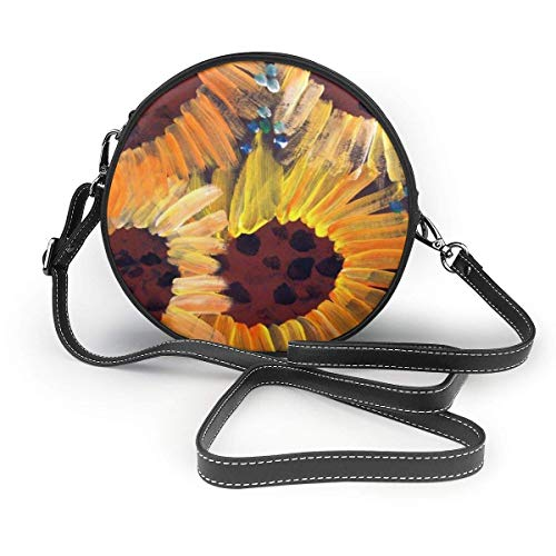 fhjhfgjghfjghfj Hand-Painted Sunflowers Print Round Crossbody Bag Umhängetasches Women Shoulder Bag PU Leather Chain Strap and Top Zipper Small Handbag Round Purse Handle Tote -