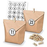 DIY Matches21?Calendrier de l'Avent Kit de bricolage et remplir de sacs papier Pinces Nombre Stickers Blanc