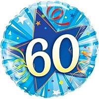 """Qualatex Leuchtender Stern Blau Alter 60/60. Geburtstag 18"""" Folien Ballon"""