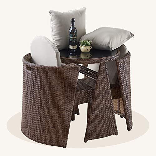 HOIHO 3 STÜCKE Japanischen Garten Rattan Tisch Und Stühle Zylindrische Kombination Bistro Garten Rasen Freizeit Sofa Möbel Kombination (Color : Braun) (Kaffee Stühlen Mit Tisch Runder)