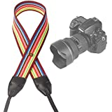 Camera Neck Shoulder Strap Belt For ALL DSLR / SLR (Nikon Canon Sony Olympus Pentax Fujifilm Etc) - Cute Design For Men & Women - Adjustable Lanyard - Made Of Cloth & Leather - Warm Rainbow Color