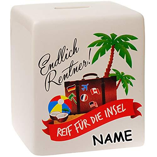 Spardose - Endlich Rentner ! Reif für die Insel - inkl. Name - stabile Sparbüchse - aus Porzellan / Keramik - OMA + Opa - Sparschwein - lustig witzig - Großel..