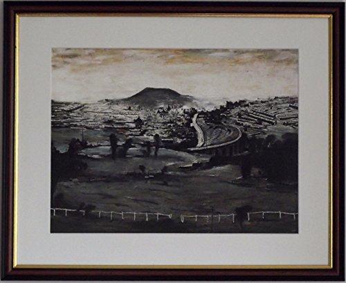 L S Lowry Spezialität Print/Bild-bargoed-auf einem Leinen Struktur Medium, Walnut Finish Frame With Soft White Mount And Large Image, 20 x 16inch -