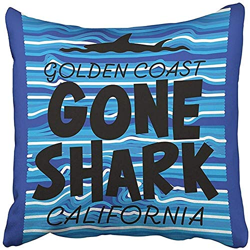 Cover 18x18 Inches/45x45cm Polyester Blue Ocean of California and Shark Tee Graphics Beach Emblem Fin Label Sign Sport Summer Decorative Pillowcase Two Sides Square Print for Home ()