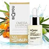 Anti-Aging Omega 3-6 Serum mit Vitamin E Avocadoöl Jojobaöl Muscum Rose Öl Macadamiaöl Olivenöl Sanddornöl - Natürliche Haut Antidepressivum mit organischen Inhaltsstoffen - Bio Natur Kosmetik