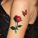 TAFLY 5 Fogli 3d Ladies Corpo Sticker Art Sexy Farfalla Rosa + Farfalla Tatuaggio Temporaneo
