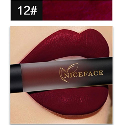 Lippenstift Matt, HUIHUI Lipstick Schönheit Lippe Gloss Long Lasting Moisturizing Lippenstift Lip Gloss Fashionable Colors Matte Liquid Lipstick (12 #) (Halloween-make-up Zu Kaufen)
