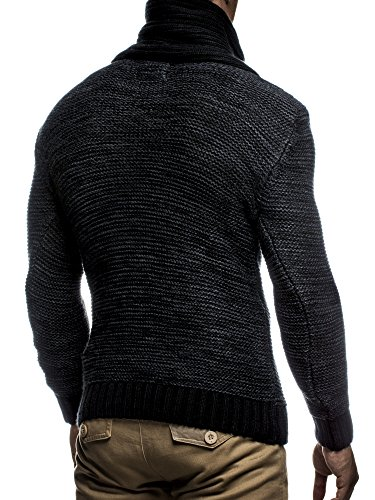 LEIF NELSON Herren Strickpullover Pullover LN7060N Schwarz-Anthrazit