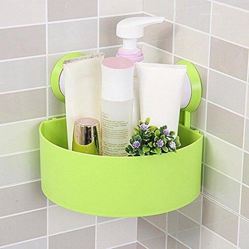 Saugnapf Badezimmer Rack, mamum Kunststoff Saugnapf Badezimmer Küche Ecke Storage Rack Organizer Dusche Regal Einheitsgröße grün (Schrank-schiebe-korb)