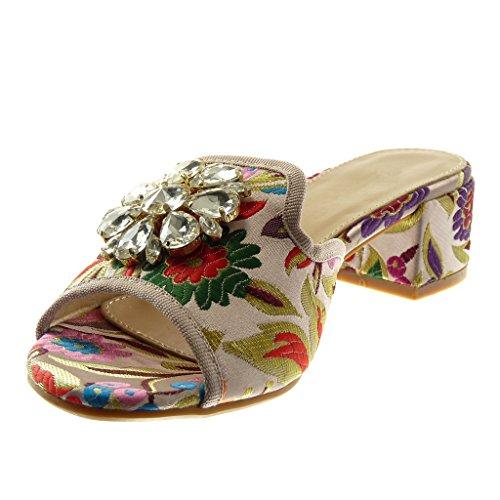 Angkorly Scarpe Moda Sandali Mules Slip-On Donna Strass Gioielli Ricamo Tacco a Blocco Alto 4 cm Rosa