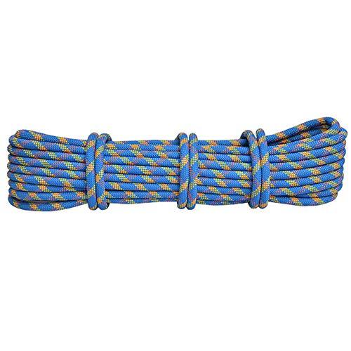 GJF Klettersicherheitsseil, Brandnotseil, Outdoor-Höhlenschutz-Anschlagpunkt-Fangseil, Hochfestes Tragesicherheitsseil -10,5 mm-blue-40m
