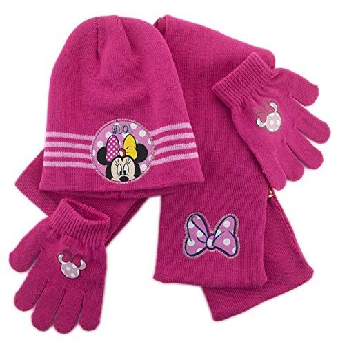 Set cappello sciarpa e guanti bimba minnie (fuxia)