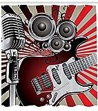 Abakuhaus Duschvorhang, Gitarre Mikrofon und Lautsprecher in Retro Design Vintage Hipster Mehrfarbigen Rock N Roll Druck, Wasser und Blickdicht aus Stoff mit 12 Ringen Schimmel Resistent, 175 X 200 cm