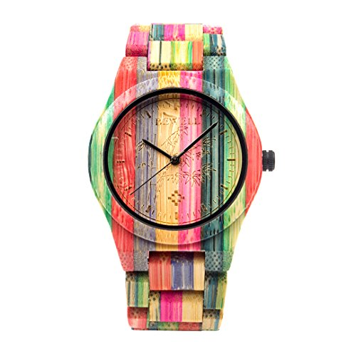 BEWELL Herren Uhr Holz Analog Japanisches Quarzwerk mit Bambus Armband Rund Holzuhr Männer (Mehrfarbig 1) - 2