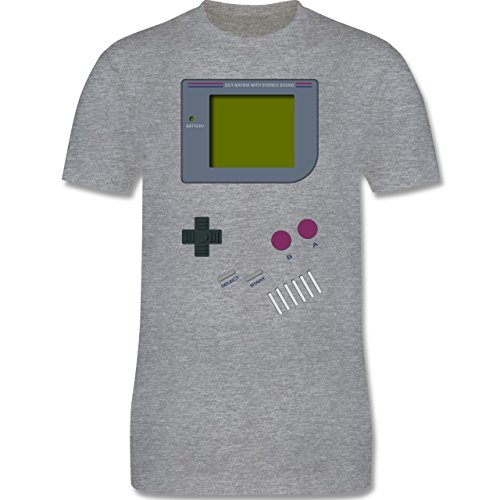 Nerds & Geeks - Gameboy - 3XL - Grau meliert - L190 - Herren T-Shirt Rundhals