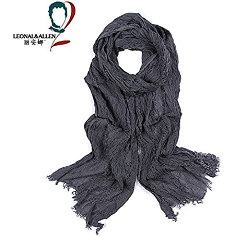 Los hombres otoño e invierno enrejados rayas algodón reversible Bufanda Bufanda dos largos
