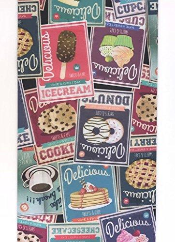COM-ART Teppich Küche Vintage Print auf EIS Kaffee Coffe Kuchen Cookies Modern Rutschfeste Maschinenwaschbar Made in Italy (52x 100) (Cookies Auf Art)