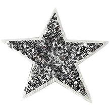 Cdet Pegatinas de tela estrella de lentejuela de plata decorativa envuelta Parche de ropa