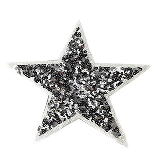 Cdet Pegatinas Tela Estrella Lentejuela Plata Decorativa