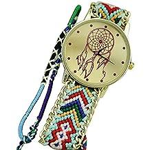 Sannysis® Dreamcatcher Amistad Pulsera Relojes vestido de las mujeres del reloj de la trenza (verde + negro)
