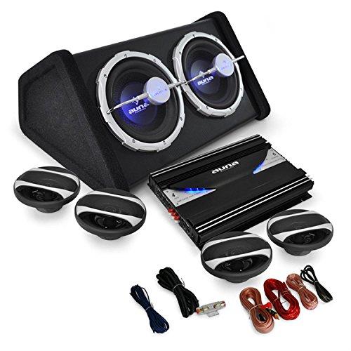 Auna Black Line 500 Equipo de Sonido HiFi para Coche (Amplificador 6 Canales 5000W, 1x subwoofer Doble 2000W, 4X Altavoz 6.5