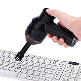 Richer-R Mini Aspirador Inalámbrico, Limpiador USB Aspirador de Teclado, Universal Aspiradora de Mano Portátil para PC/Bolsa de Cosméticos/Coche,etc.(2 Cepillo,Negro)