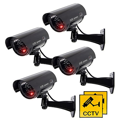 JUSTOP 4 x Dummy CCTV Camera Outdoor / Indoor Waterproof With Reality LED Light Fake CCTV Cam – Black