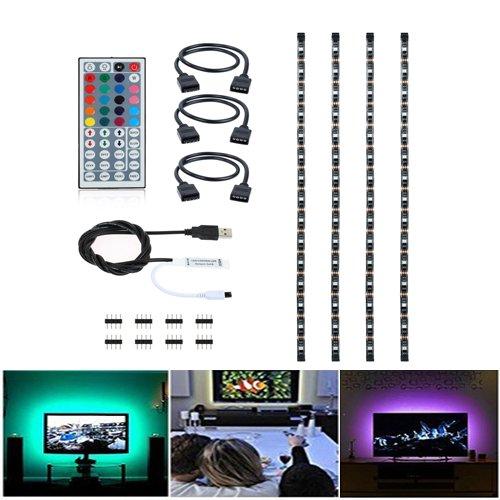 ABelle Flexibele USB LED Streifen RGB 4x 50cm TV Computer Hintergrund Beleuchtung 5050 SMD LED Lichtleiste 2M Lichtband mit 44 Tasten IR (Kostenlos Hintergründe Halloween)