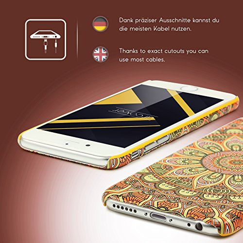 Urcover® Apple iPhone 6 Plus / 6s Plus Schutzhülle mit Mandal-Design in Weiß Colorful Mandala Backcase Cover Smartphone Zubehör TPU Schale Orange