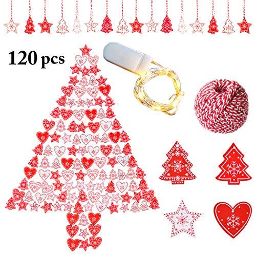 Zoylink 120 pezzi 10 stili natale appeso ornamento decorazioni natalizie in legno addobbi natalizi in legno fai da te artigianale in legno decorazione appesa