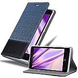 Cadorabo Custodia Libro per Nokia Lumia 925 in Azzurro Scuro Nero - con Vani di Carte, Funzione Stand e Chiusura Magnetica - Portafoglio Cover Case Wallet Book Etui Protezione
