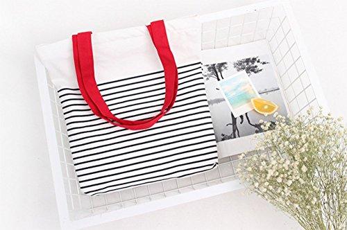 Demarkt Damen Shopping Shopper Tasche Tragetasche Strandtasche Leinwand Streifen Rot 36*38cm Rot