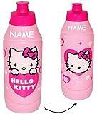 """Trinkflasche / Sportflasche - auslaufsicher - """" Katze - Hello Kitty """" - incl. Name - aus Kunststoff - 400 ml - für Kinder Kunststoffflasche - 0,4 Liter / Flasche - Plastik - Mädchen / Fahrradflasche - Kätzchen / Herzen rosa pink - Trinklernflasche - Kinderfahrradflasche - Kindertrinkflasche / Plastikflasche"""